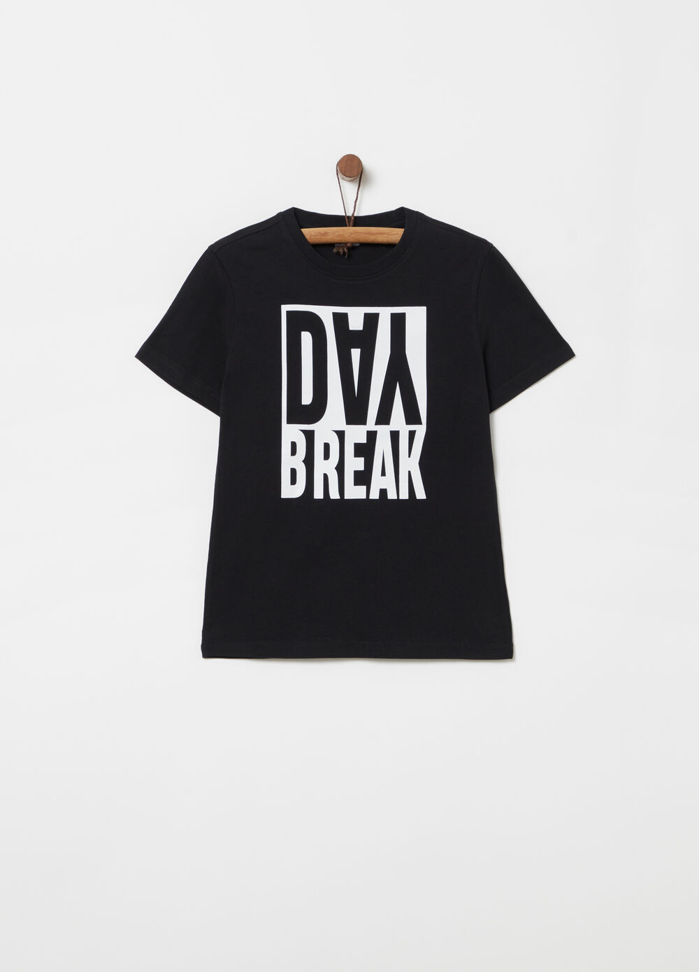 T-shirt with ribbing and lettering print