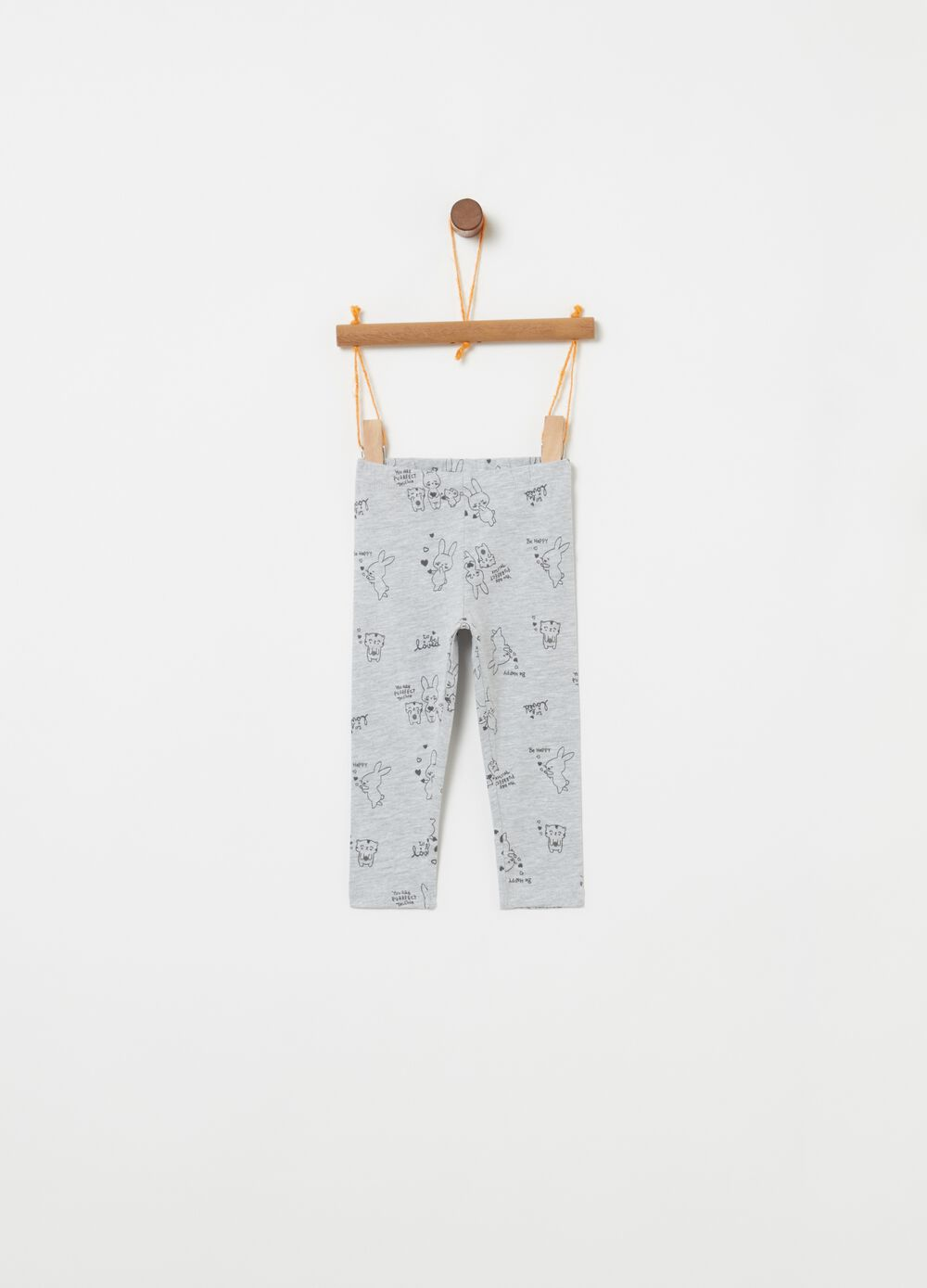 Leggings with rabbit print and elasticated waistband