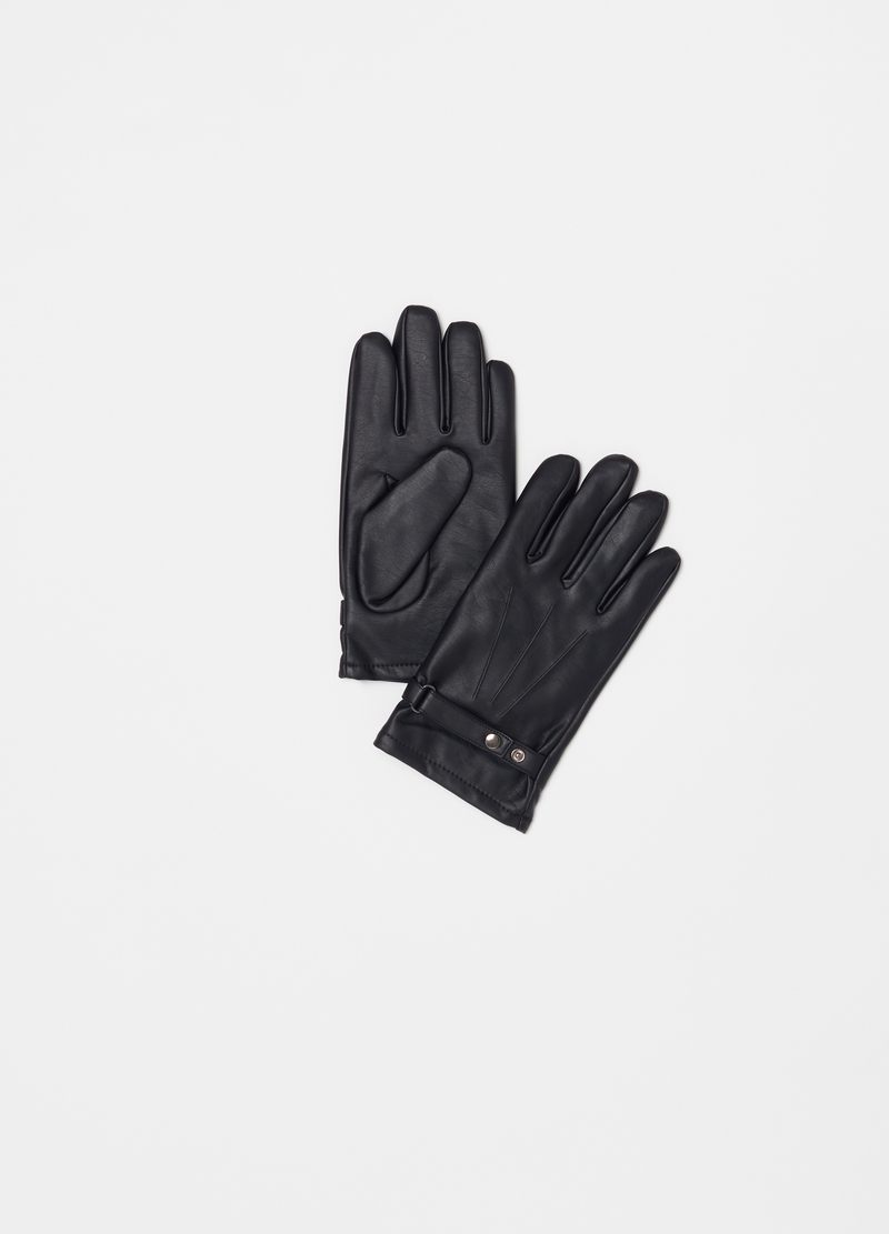 Leather-effect gloves with strap image number null