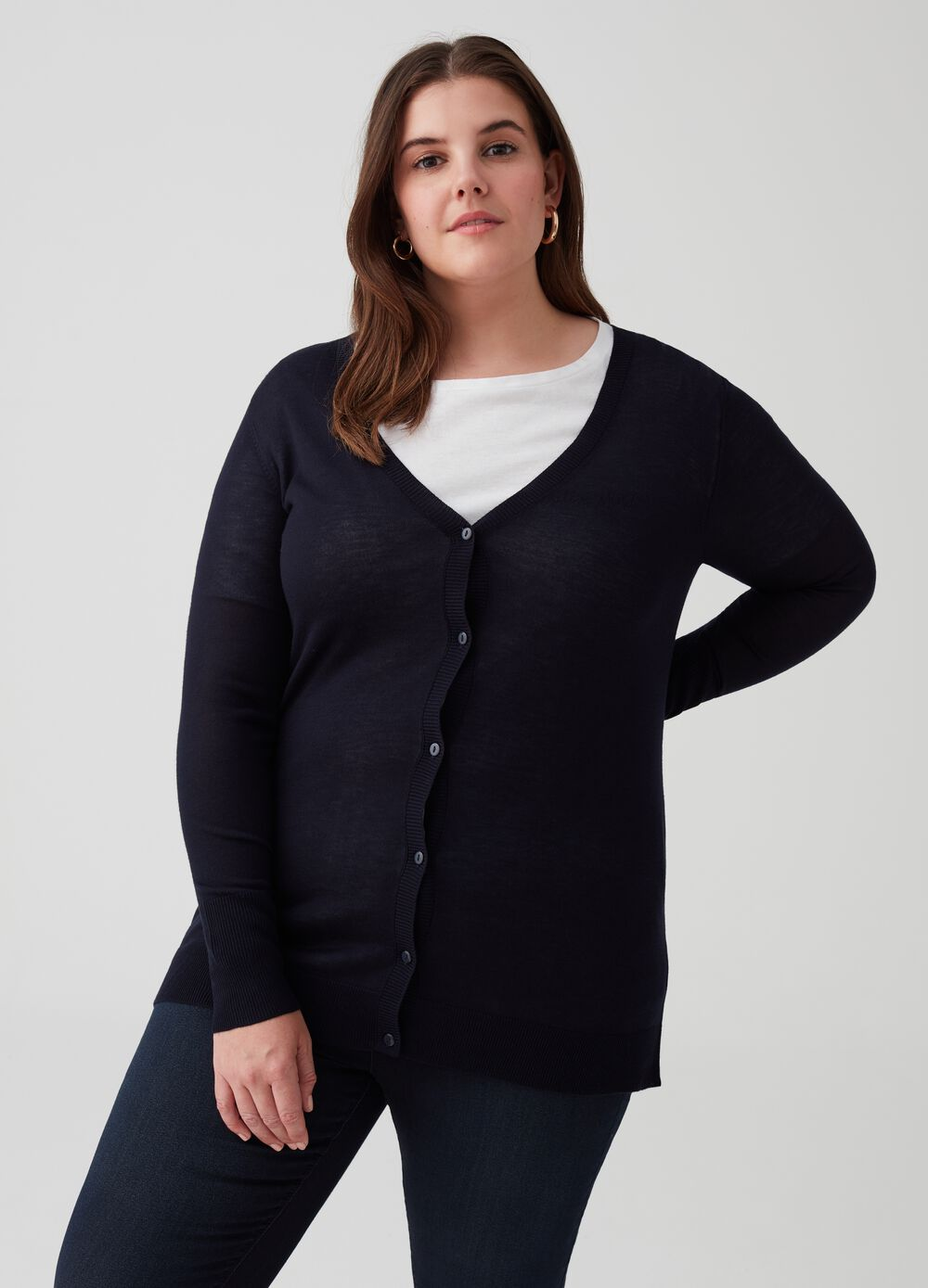 Curvy knitted cardigan