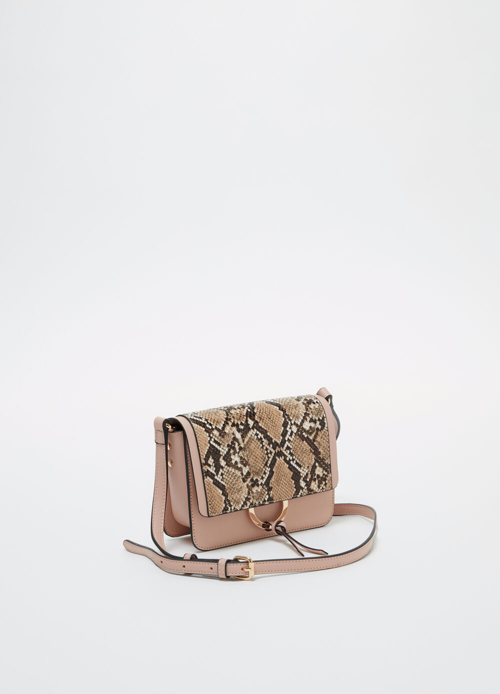 Boxy bag with snake print flap