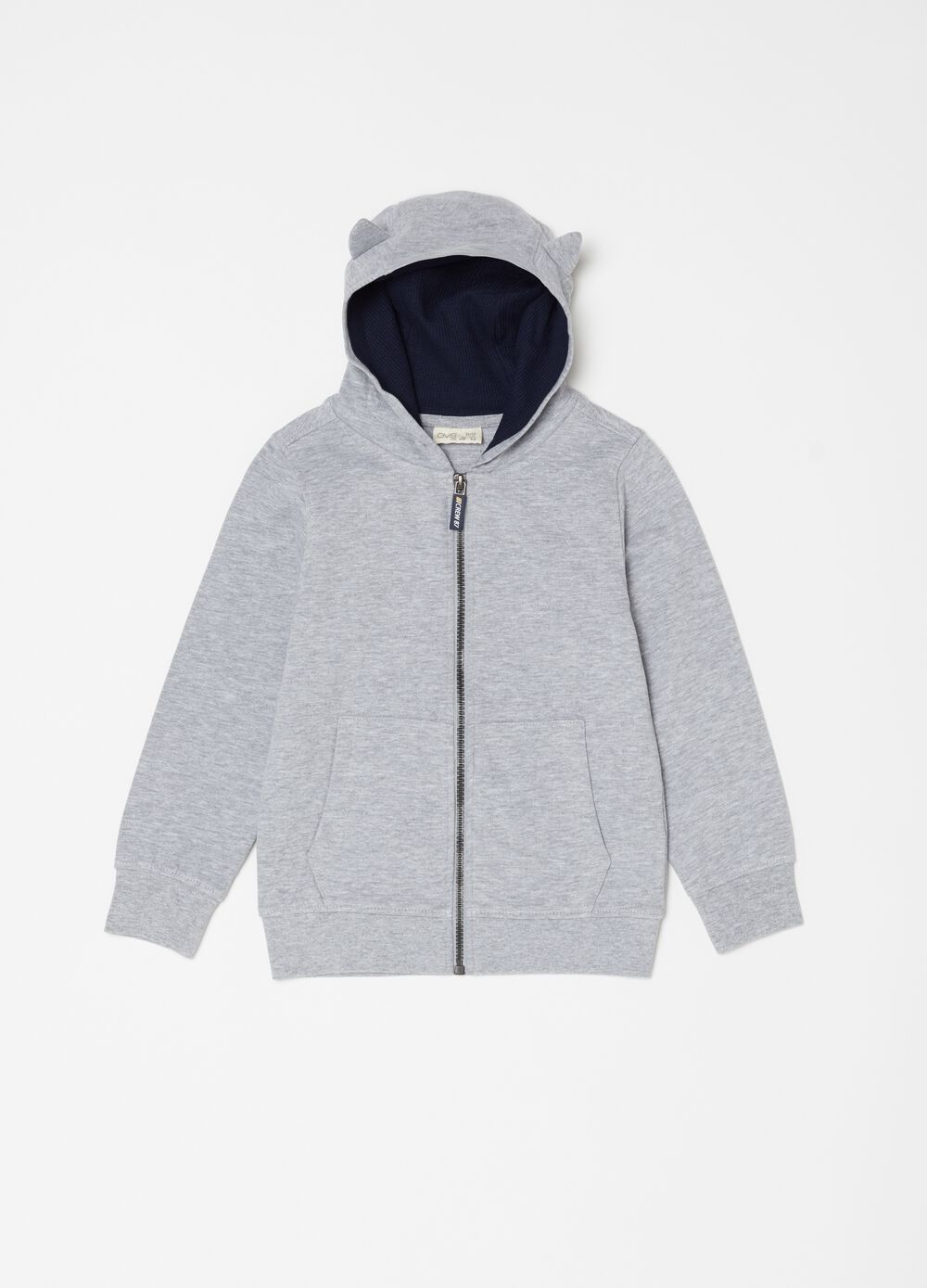Mélange sweatshirt with full-zip pockets
