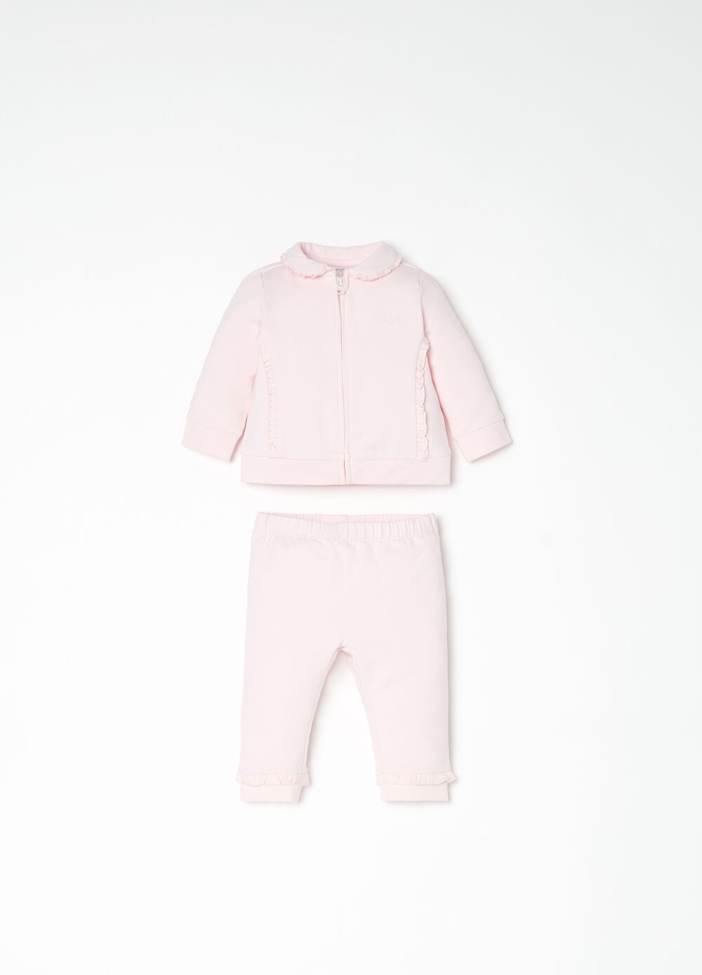 Full-zip sweatshirt and trousers set with pleating