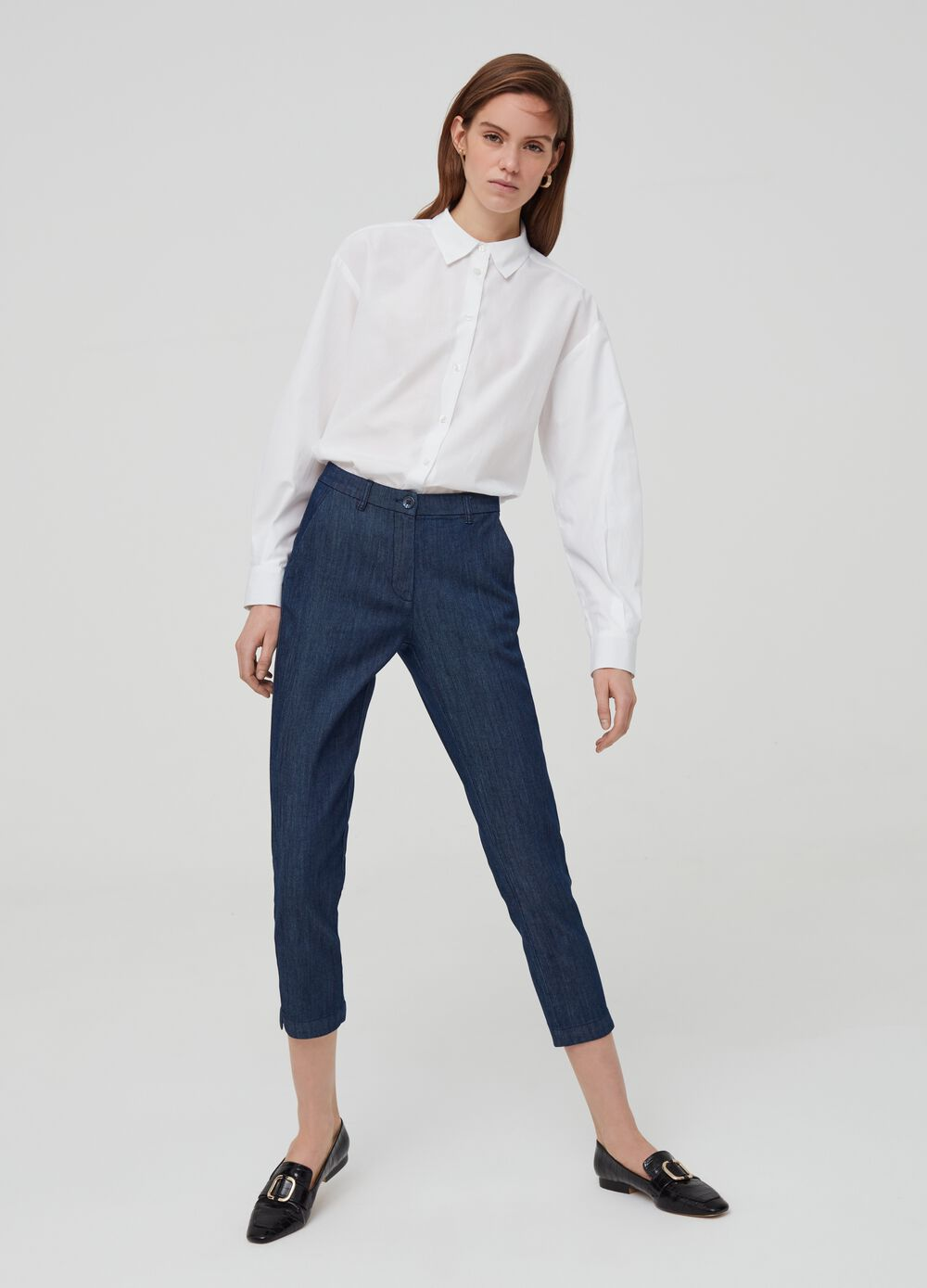 Stretch denim chino trousers with pockets