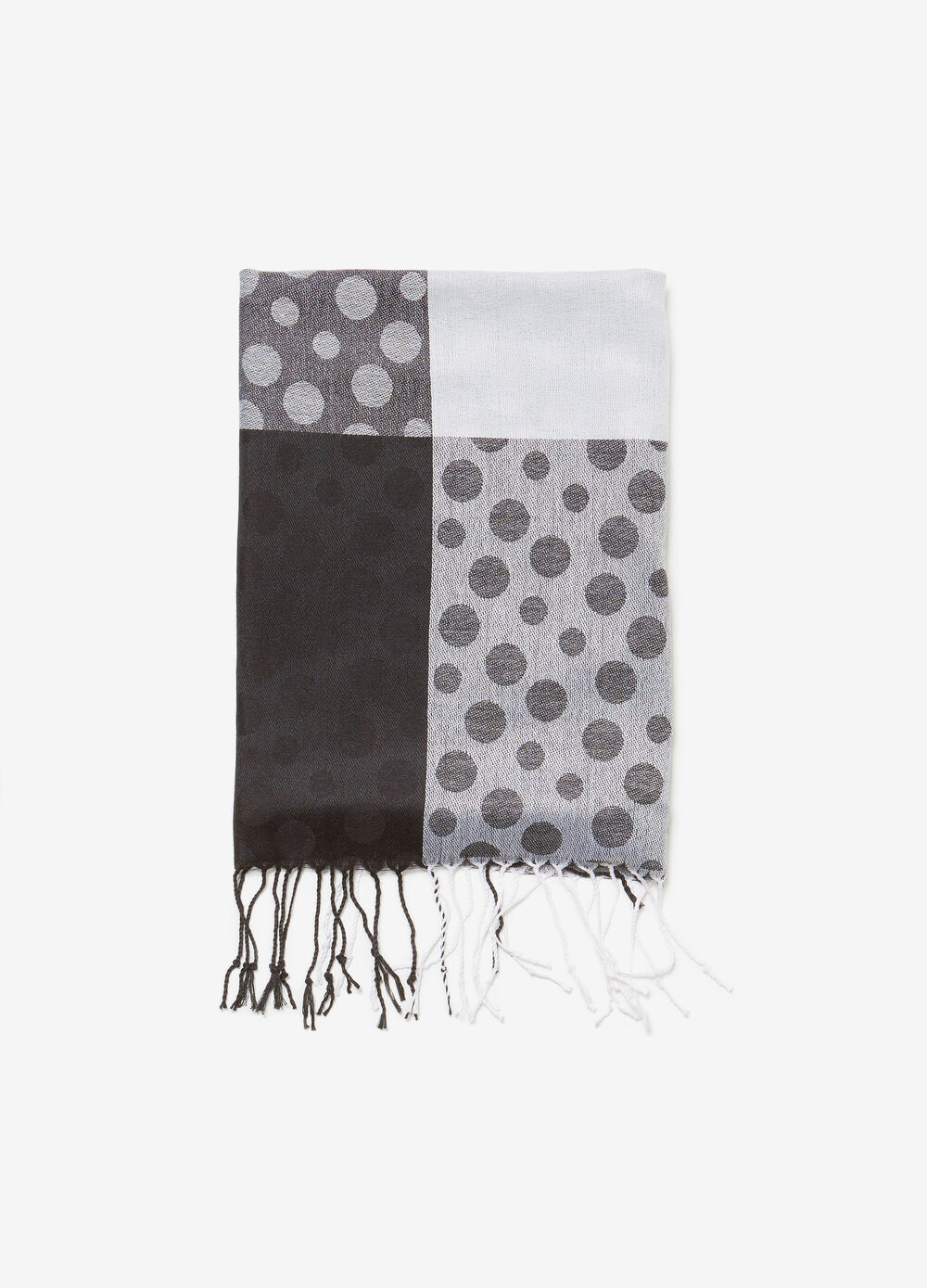 Jacquard pashmina with polka dot pattern