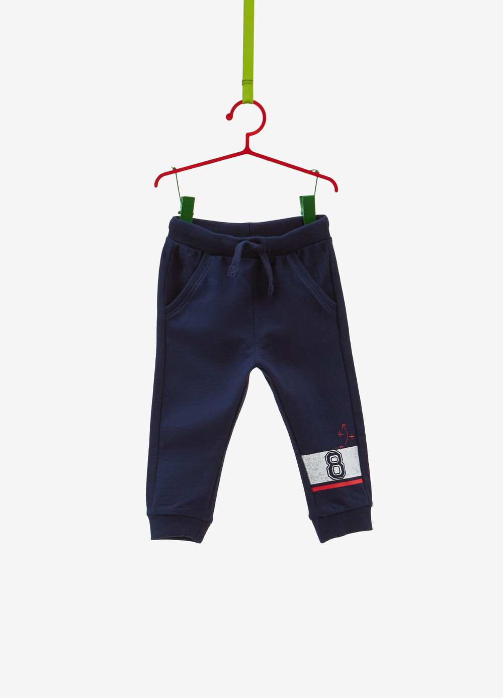 Trousers in cotton with drawstring and print