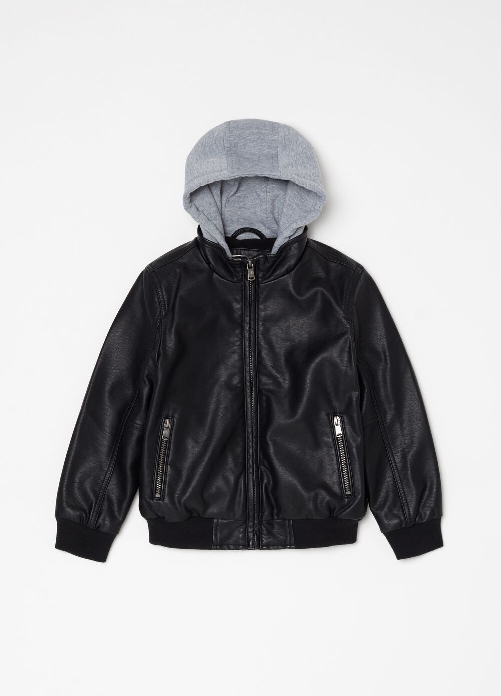 Faux leather bomber jacket with hood