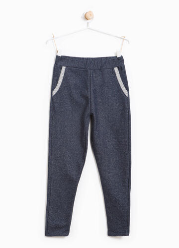Cotton joggers with lurex