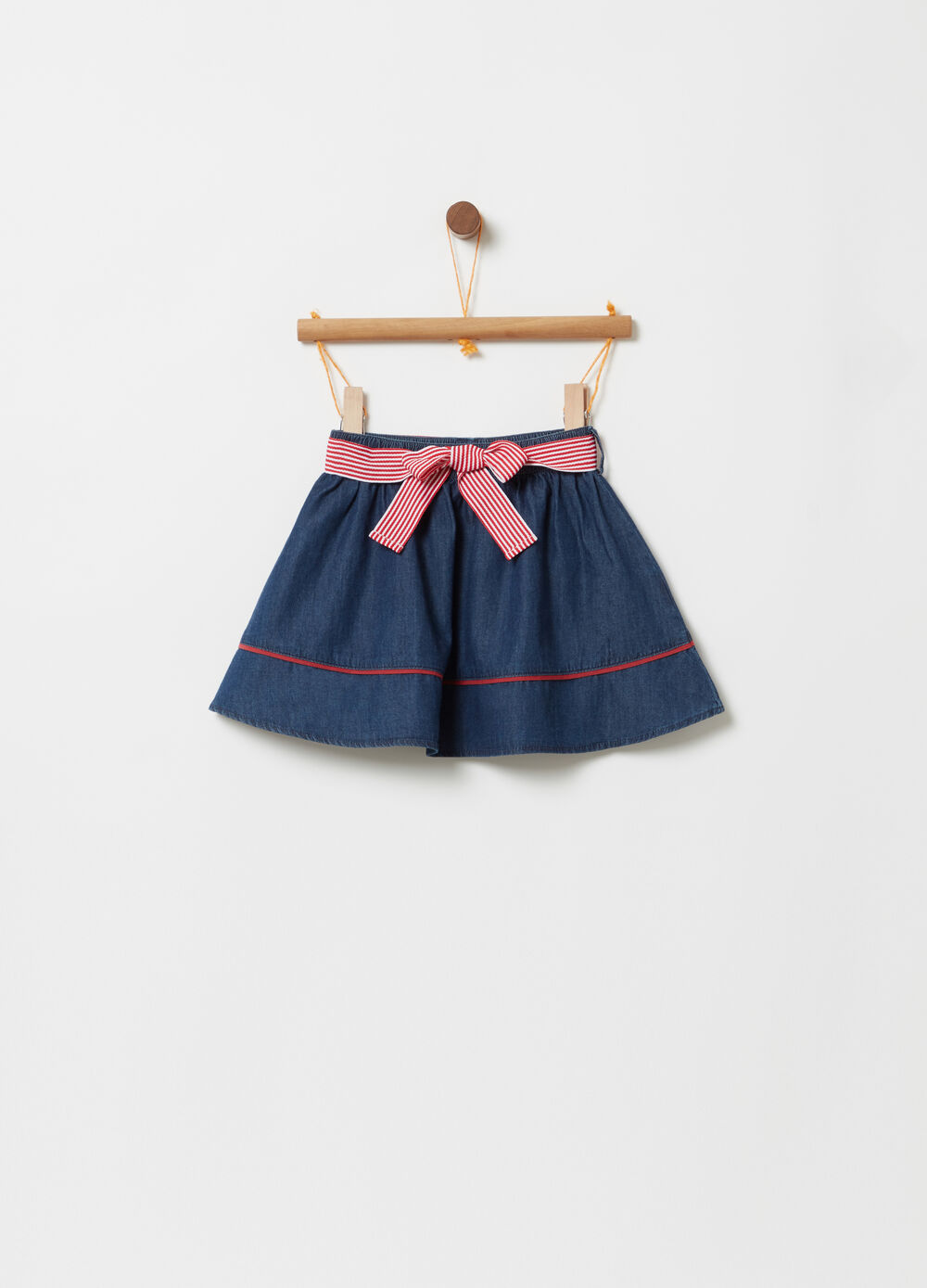 Denim skirt with elasticated waistband and sash