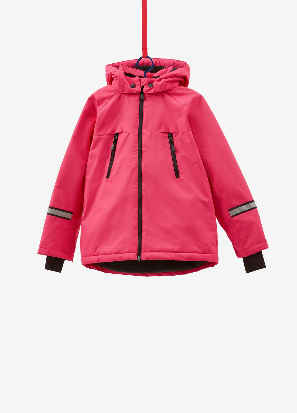 Solid colour ski jacket with hood and zip