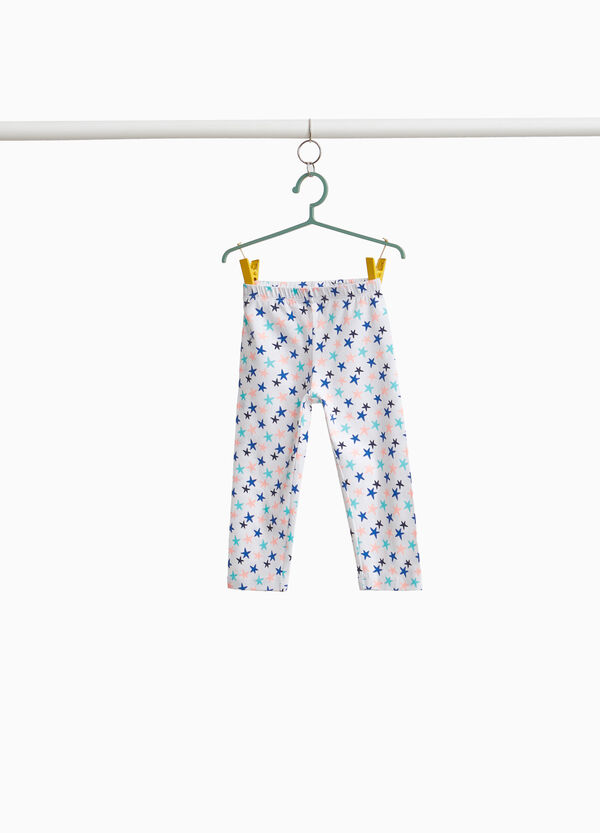 Stretch three-quarter trousers with stars