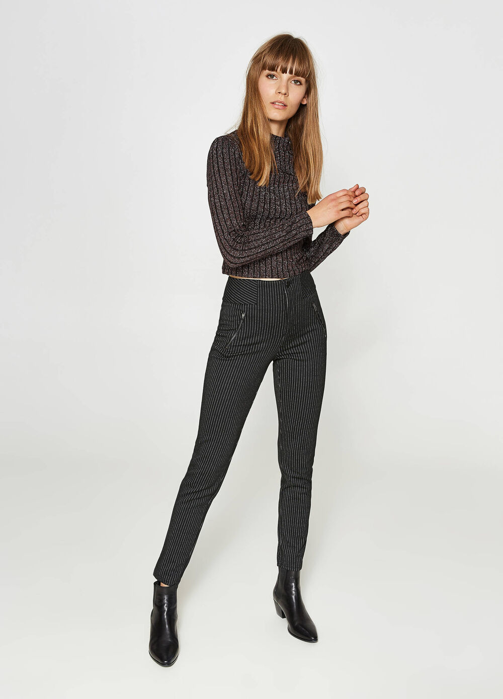 High-waisted trousers in striped viscose