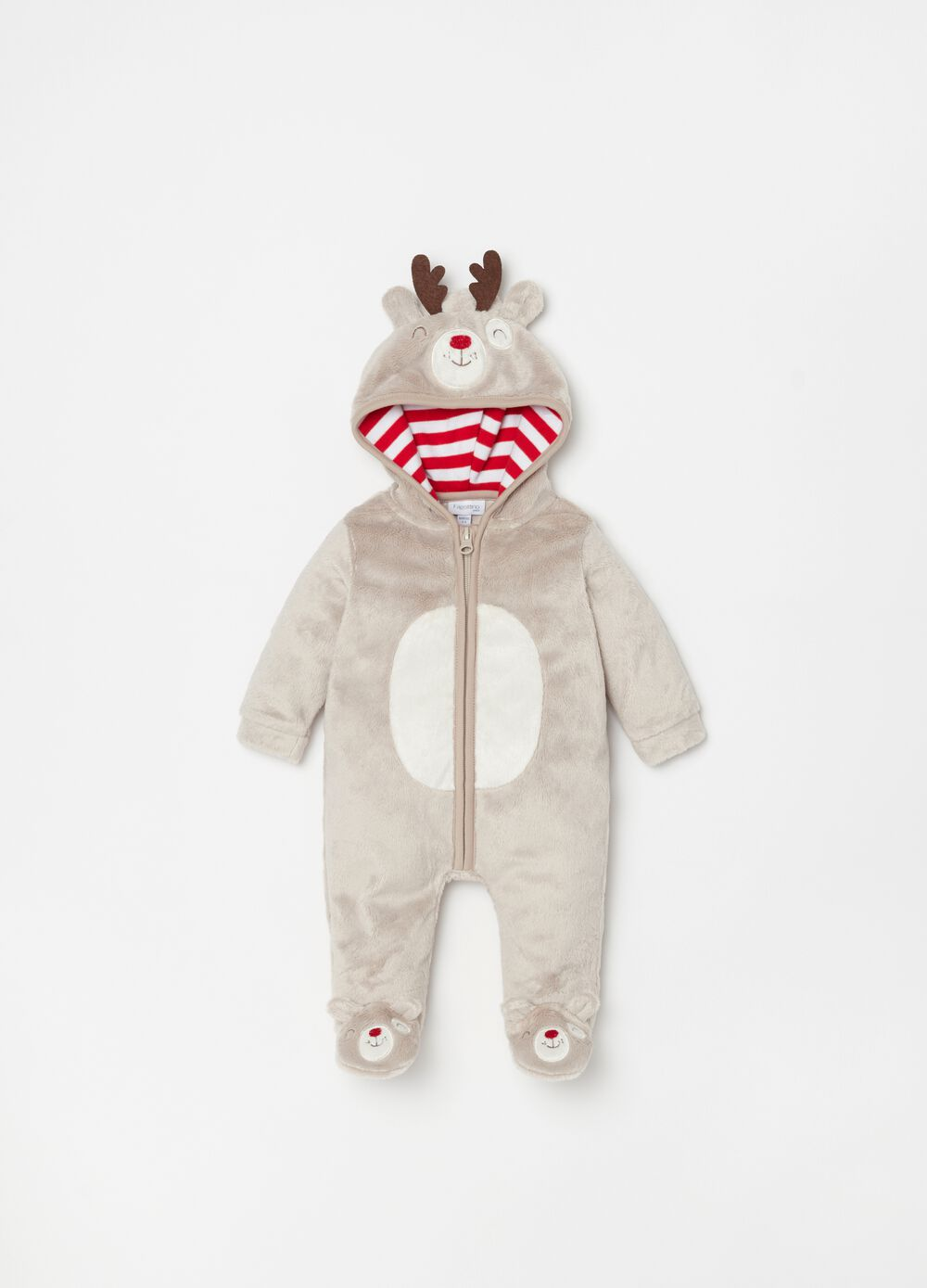 Onesie with feet in faux fur