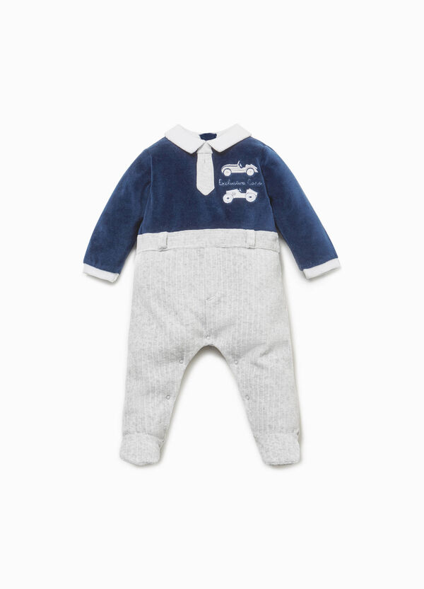 Cotton blend onesie with stripes and embroidery