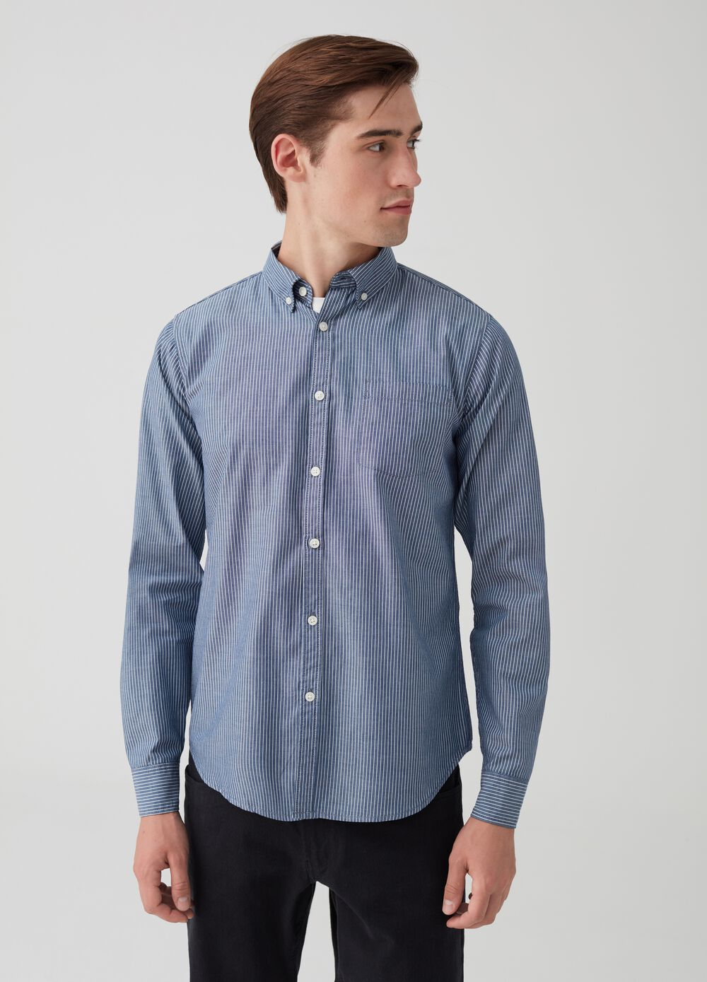 Shirt with button-down collar and pocket