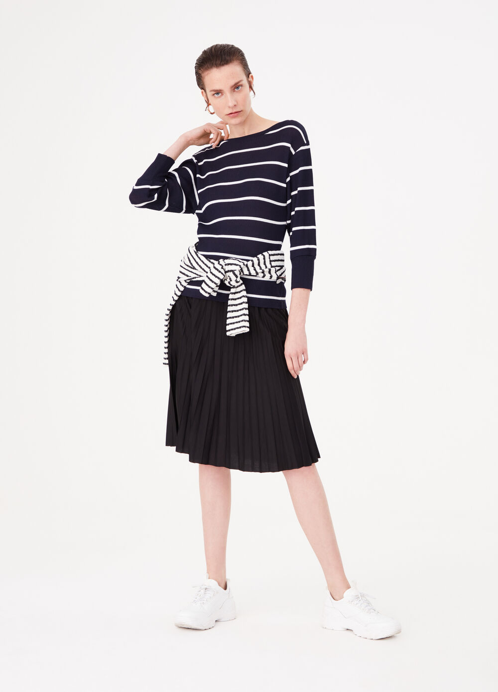 Striped viscose blend top