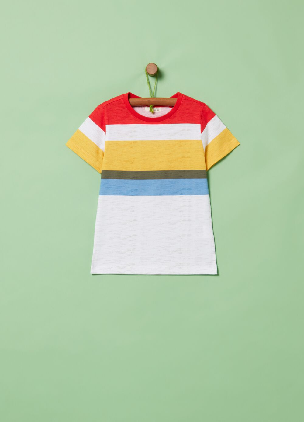 Iridescent-effect T-shirt with stripes