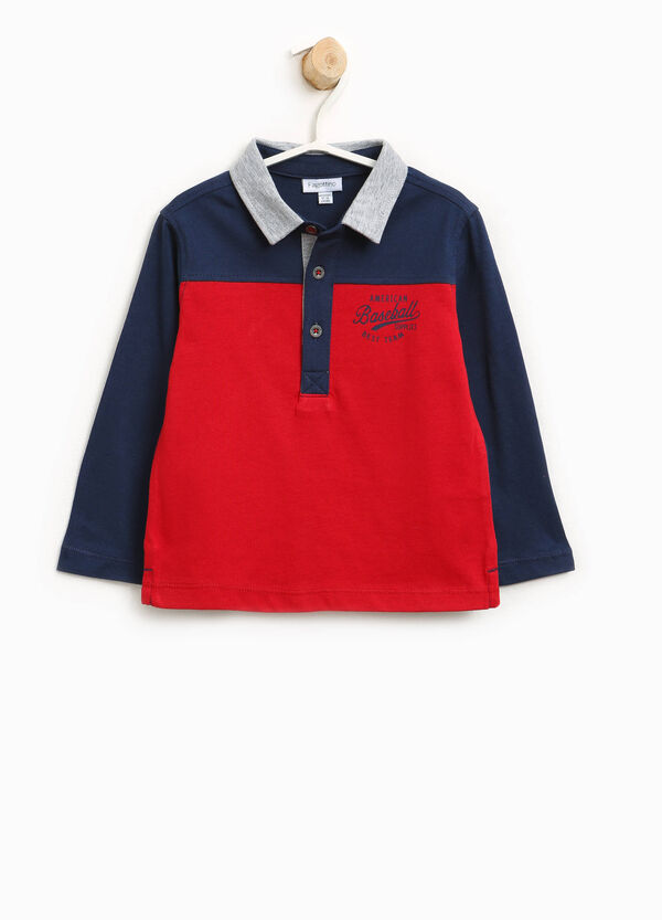 Two-tone polo shirt in 100% cotton with print | OVS