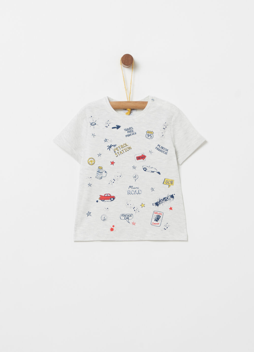 Mélange T-shirt with round neck and print