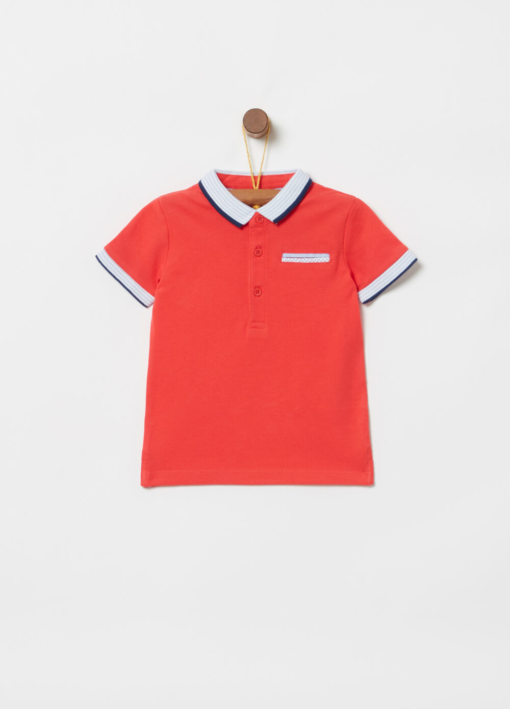 Polo shirt in stretch cotton with striped ribbing