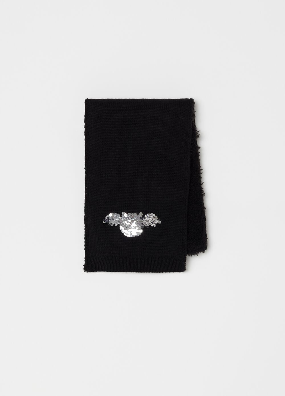 Scarf with bat motif sequins