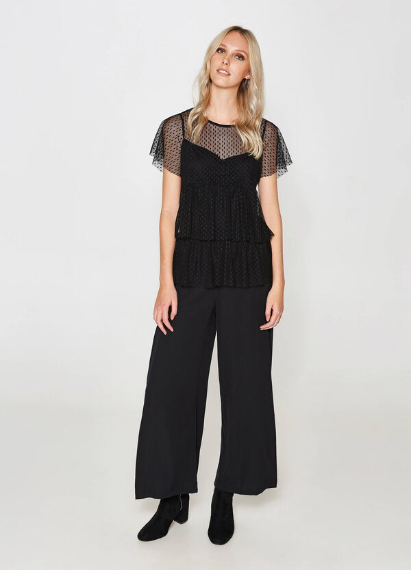 Stretch palazzo trousers with lace