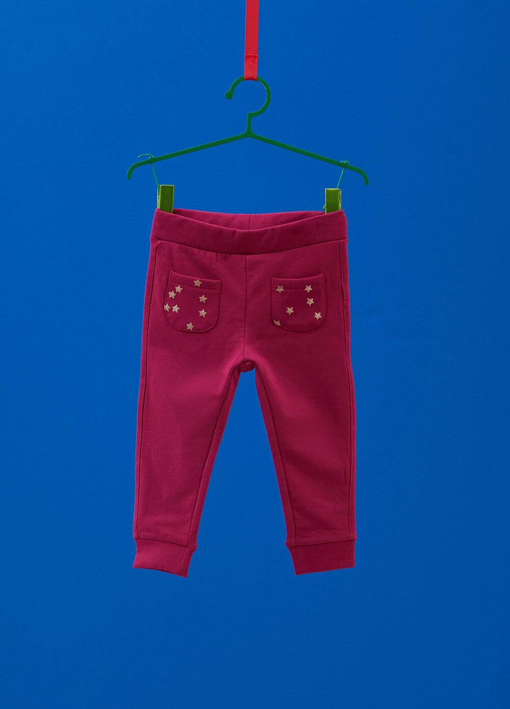 Stretch cotton joggers with stars pattern