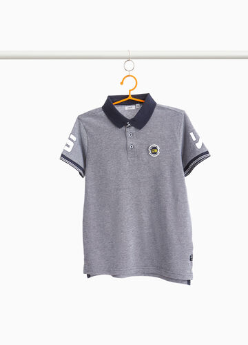 Mélange cotton polo shirt with printed patch