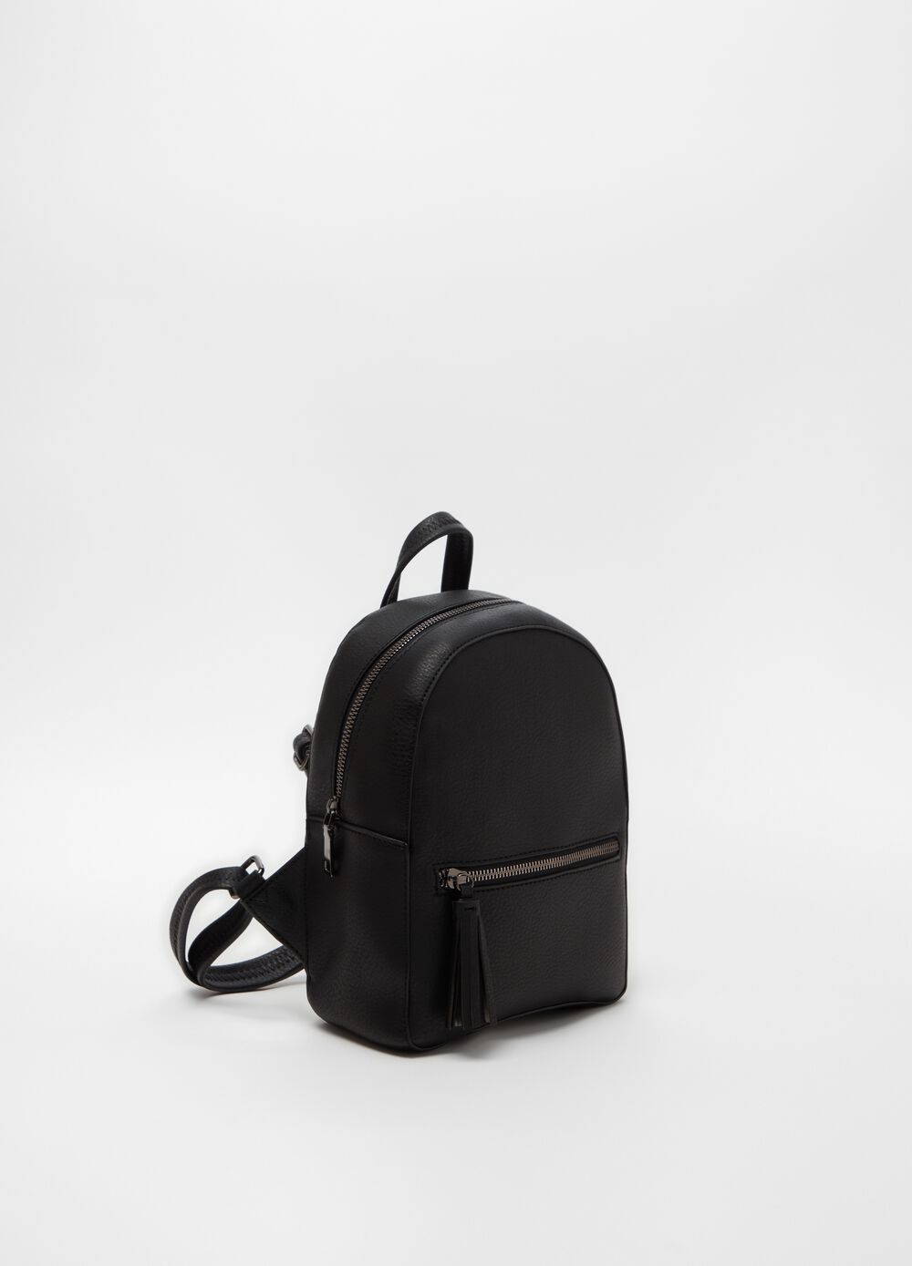 Textured leather-look backpack