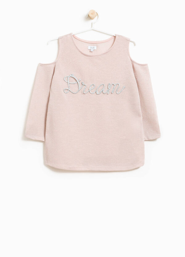 Glitter T-shirt with openings on the shoulders | OVS