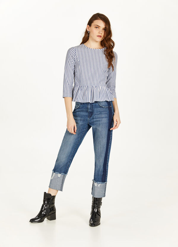Slim-fit worn-effect jeans with side bands