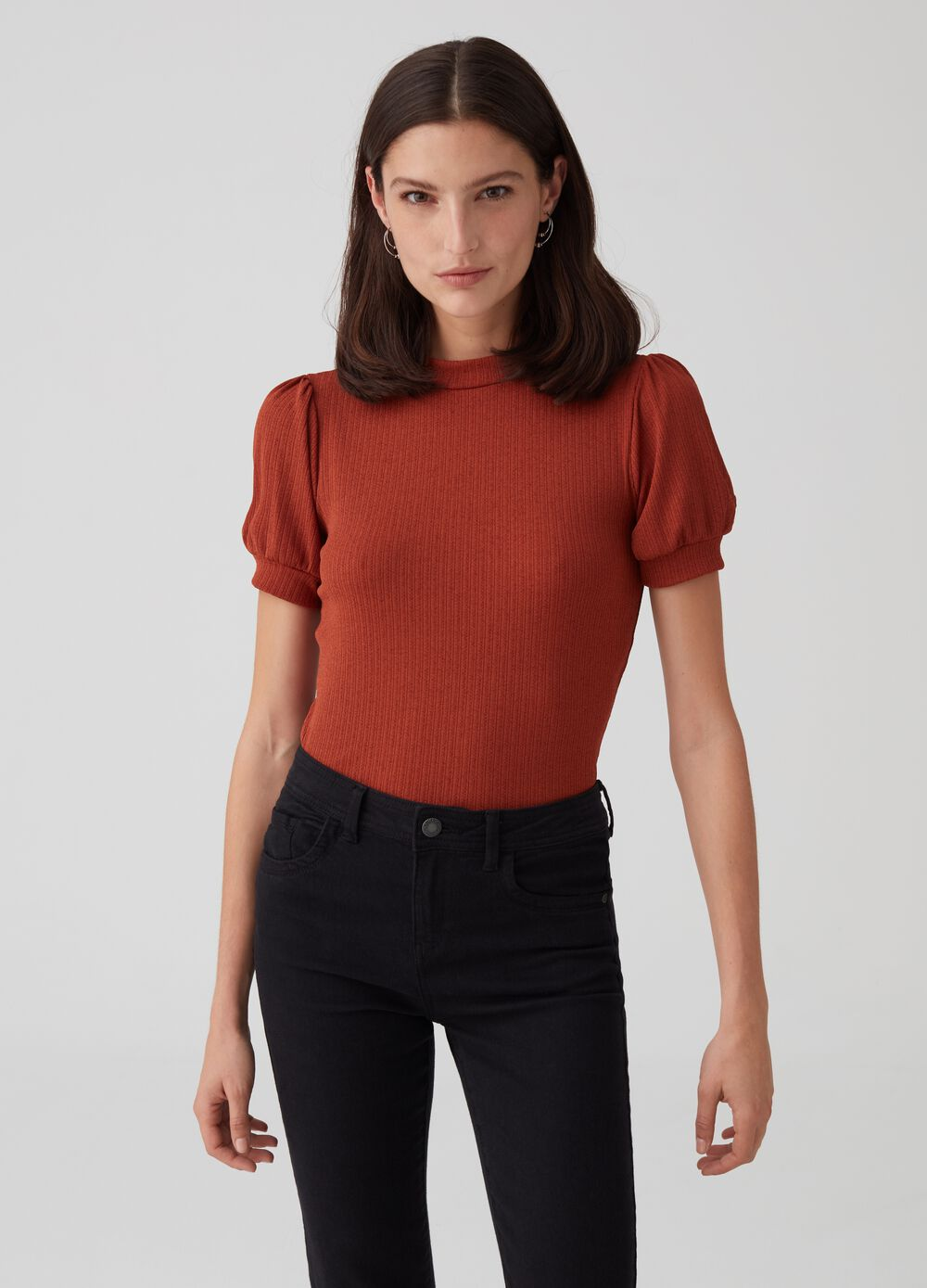 Stretch T-shirt with puff sleeves
