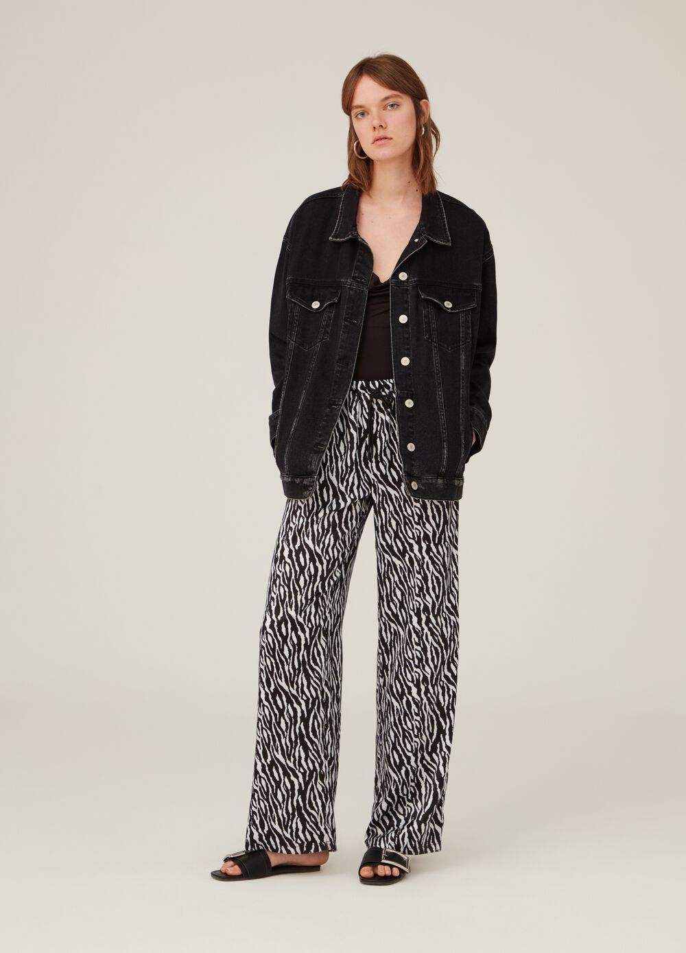 Satin-effect palazzo trousers with pattern