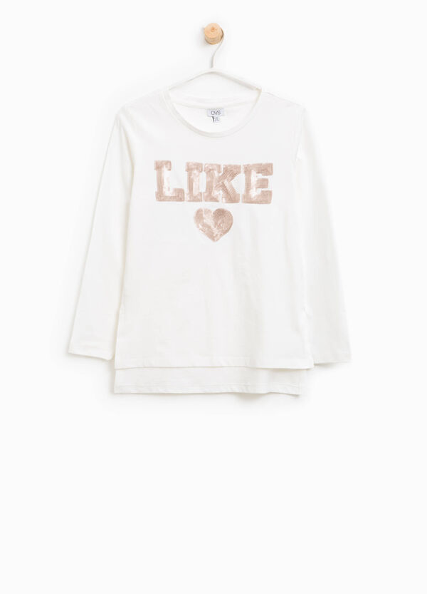 Cotton T-shirt with lettering sequins | OVS