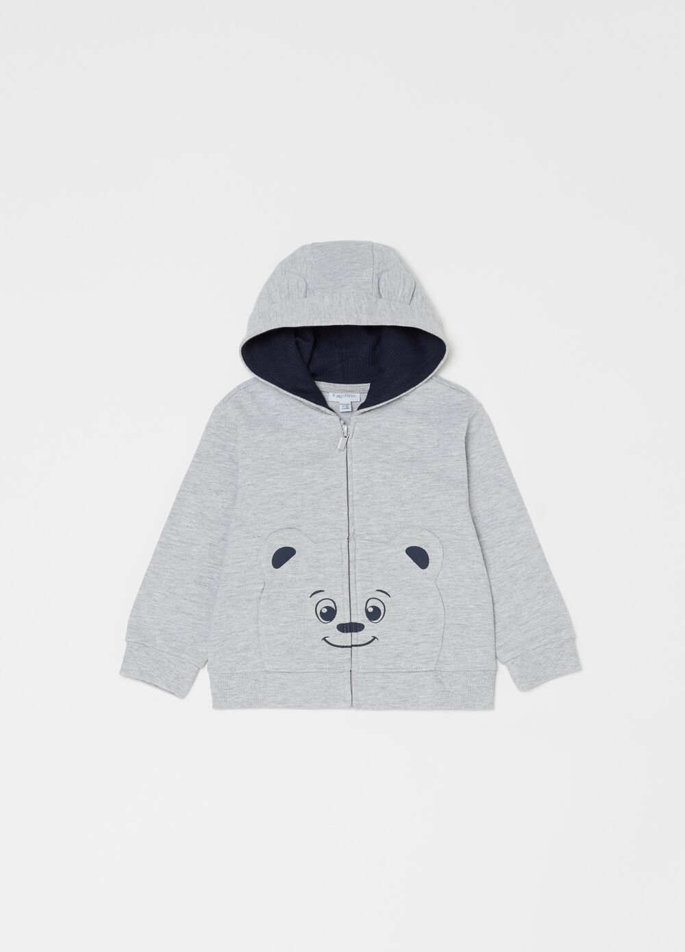 Organic cotton mélange full-zip sweatshirt with teddy bear