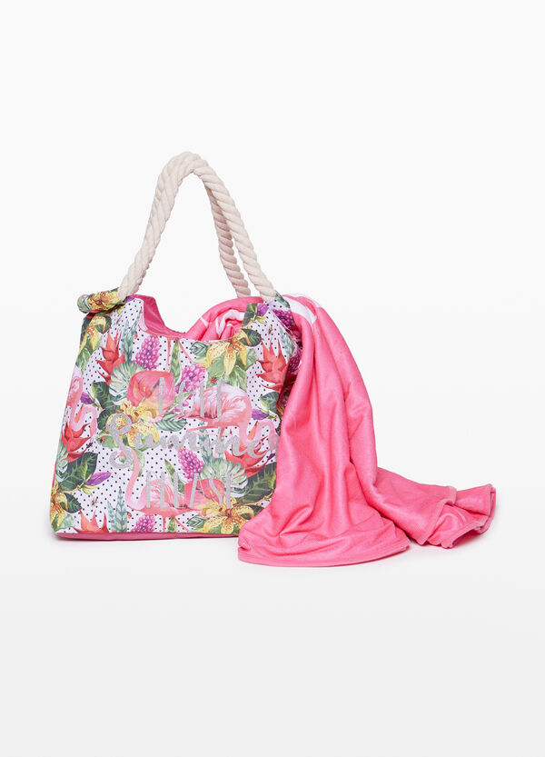 Beach bag with pattern and glitter print