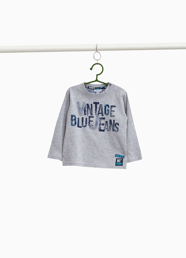 Cotton and viscose T-shirt with print