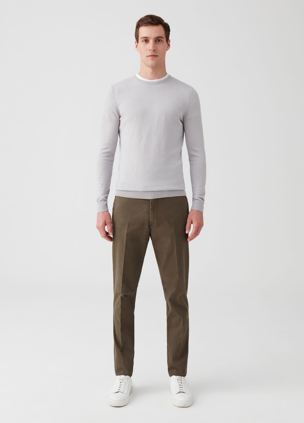 Stretch cotton trousers with pockets