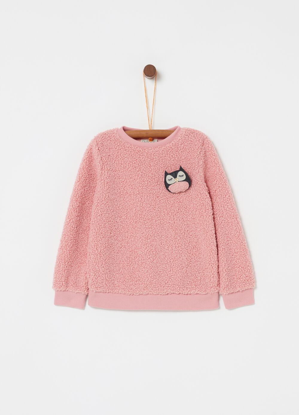 Sherpa-effect sweatshirt with Owl application