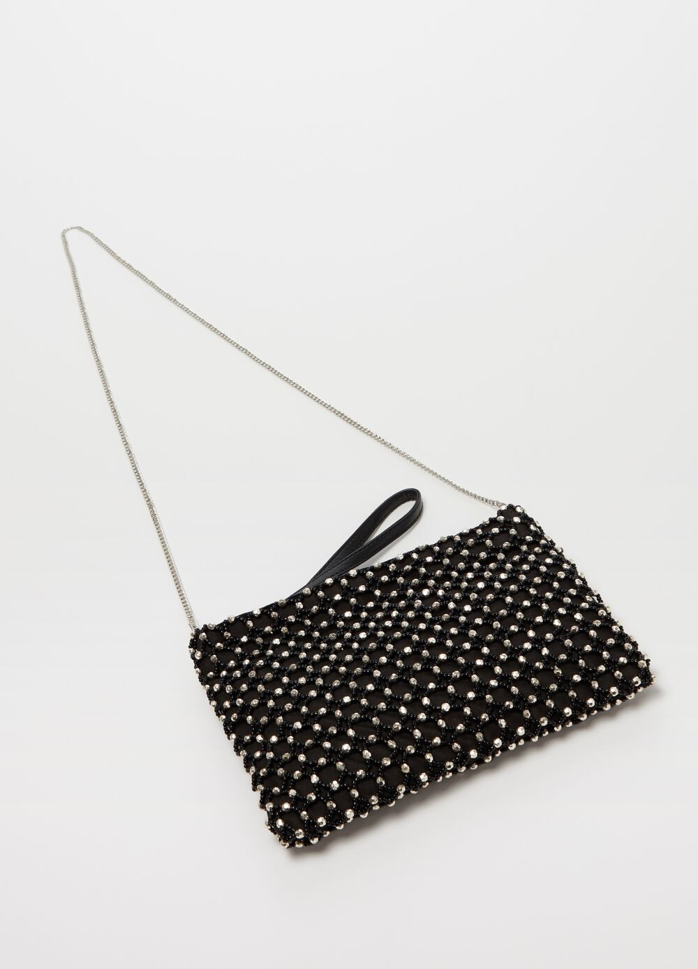 Soft clutch with beads and zip