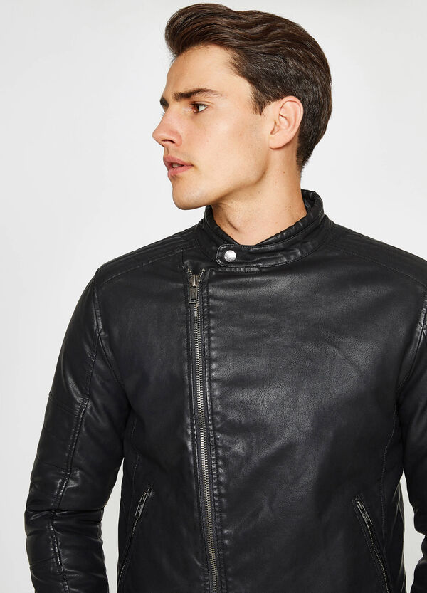 Leather-look jacket with off-centre zip fastening