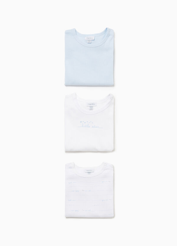 Three-pack bodysuits in 100% cotton with lettering