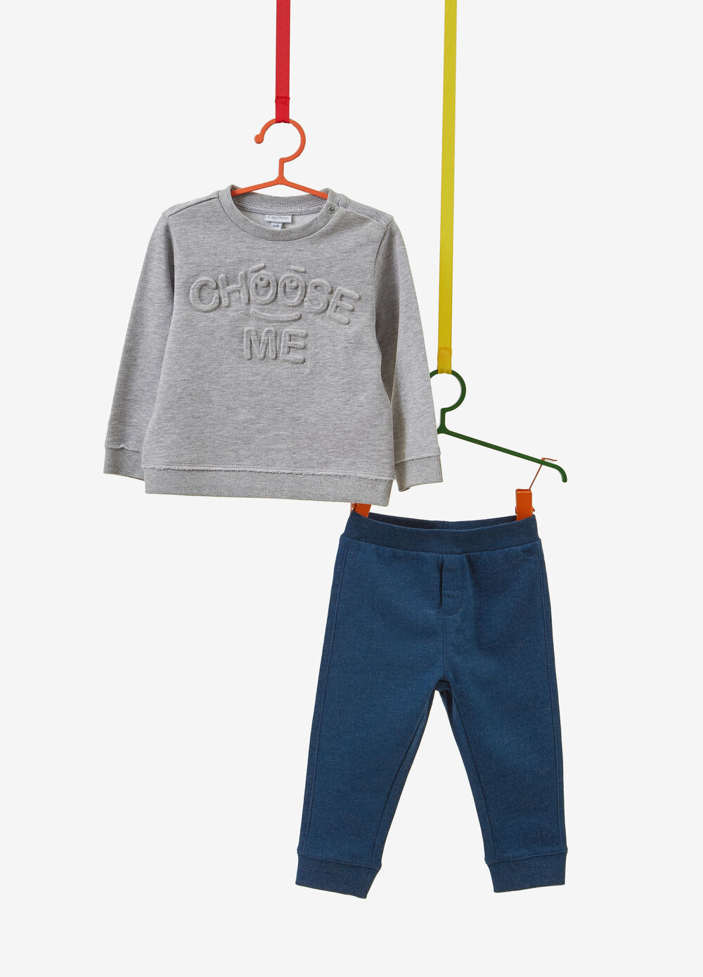 Cotton and viscose tracksuit with lettering patch