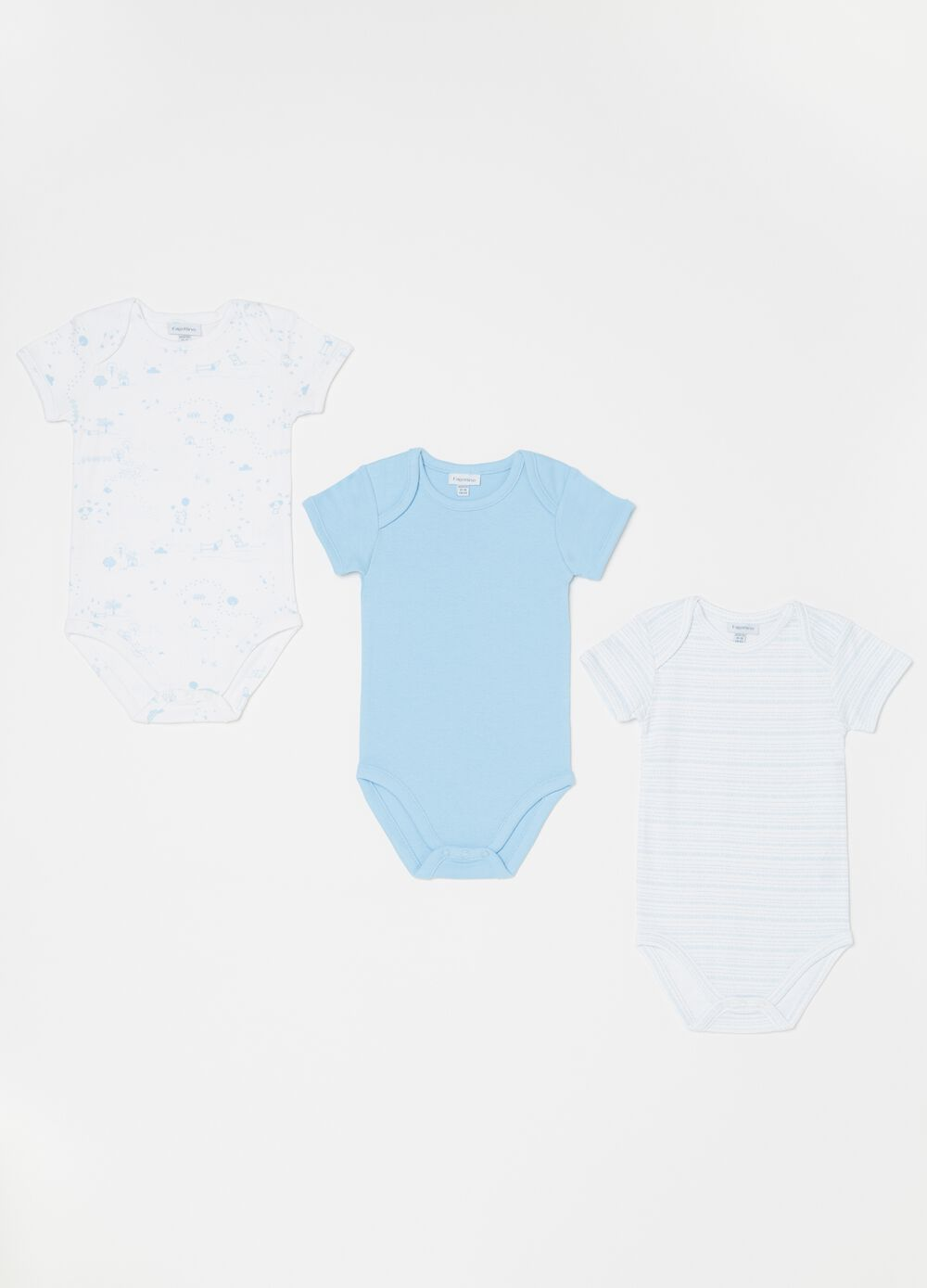 Three-pack biocotton bodysuits with pattern