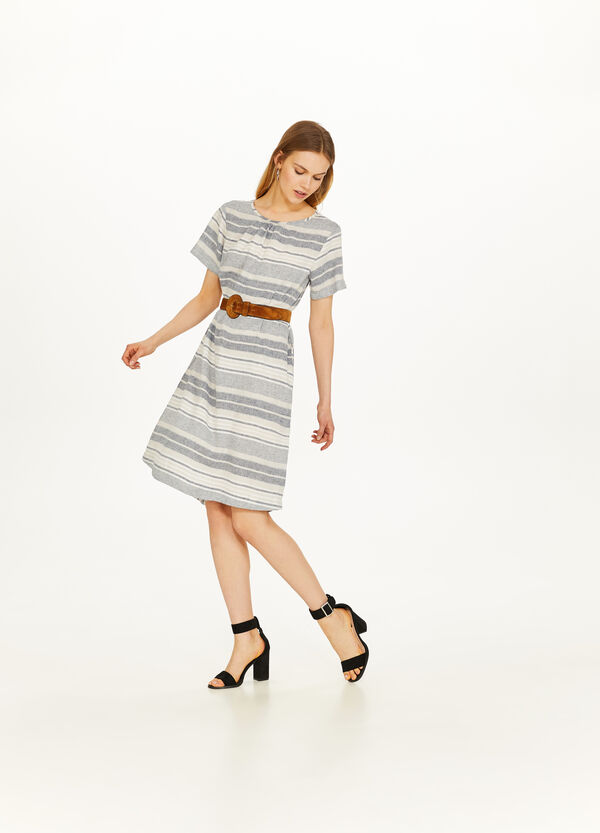 Striped patterned viscose and linen dress