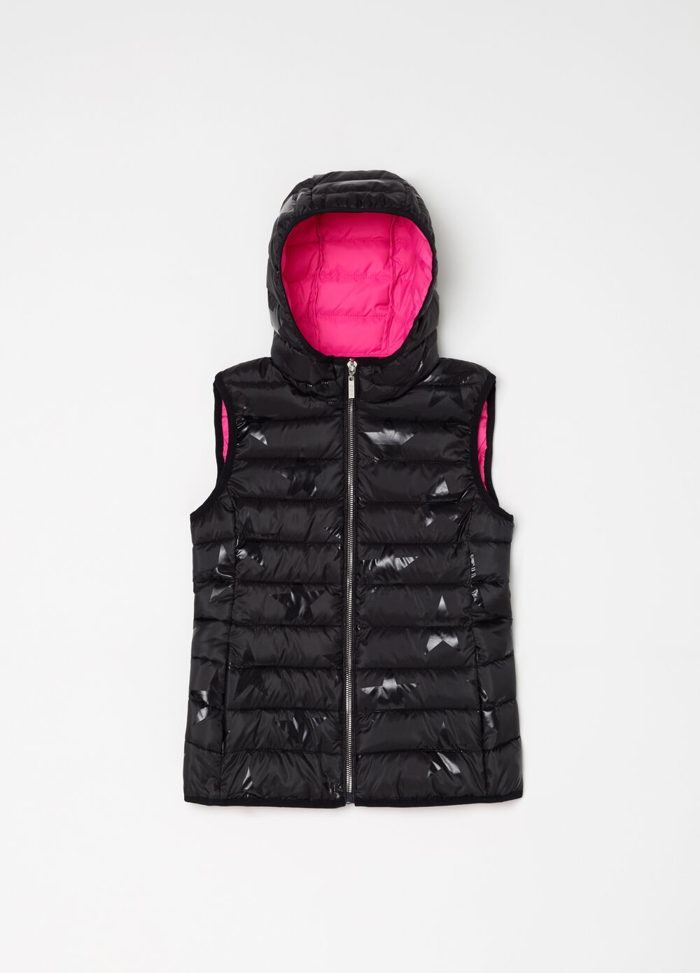 Padded gilet with hood and star pattern