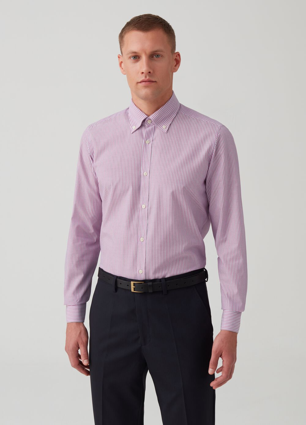 Slim-fit easy-iron shirt with stripes