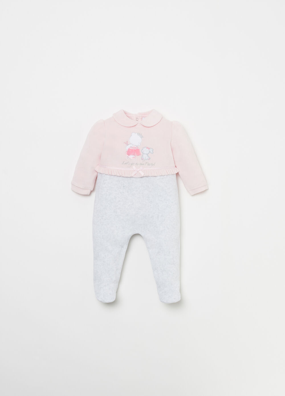 Onesie with animal patch and bows