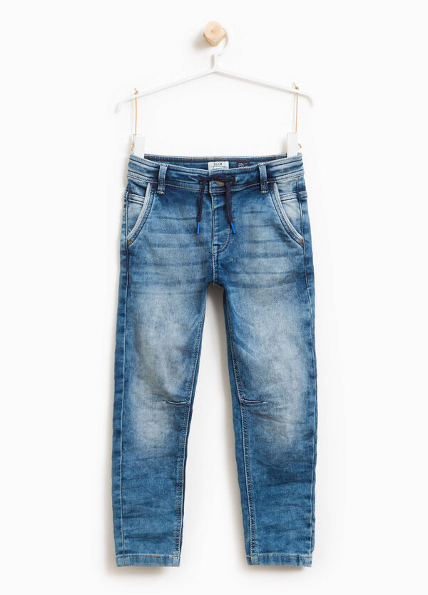 Used-effect stretch jeans with drawstring | OVS