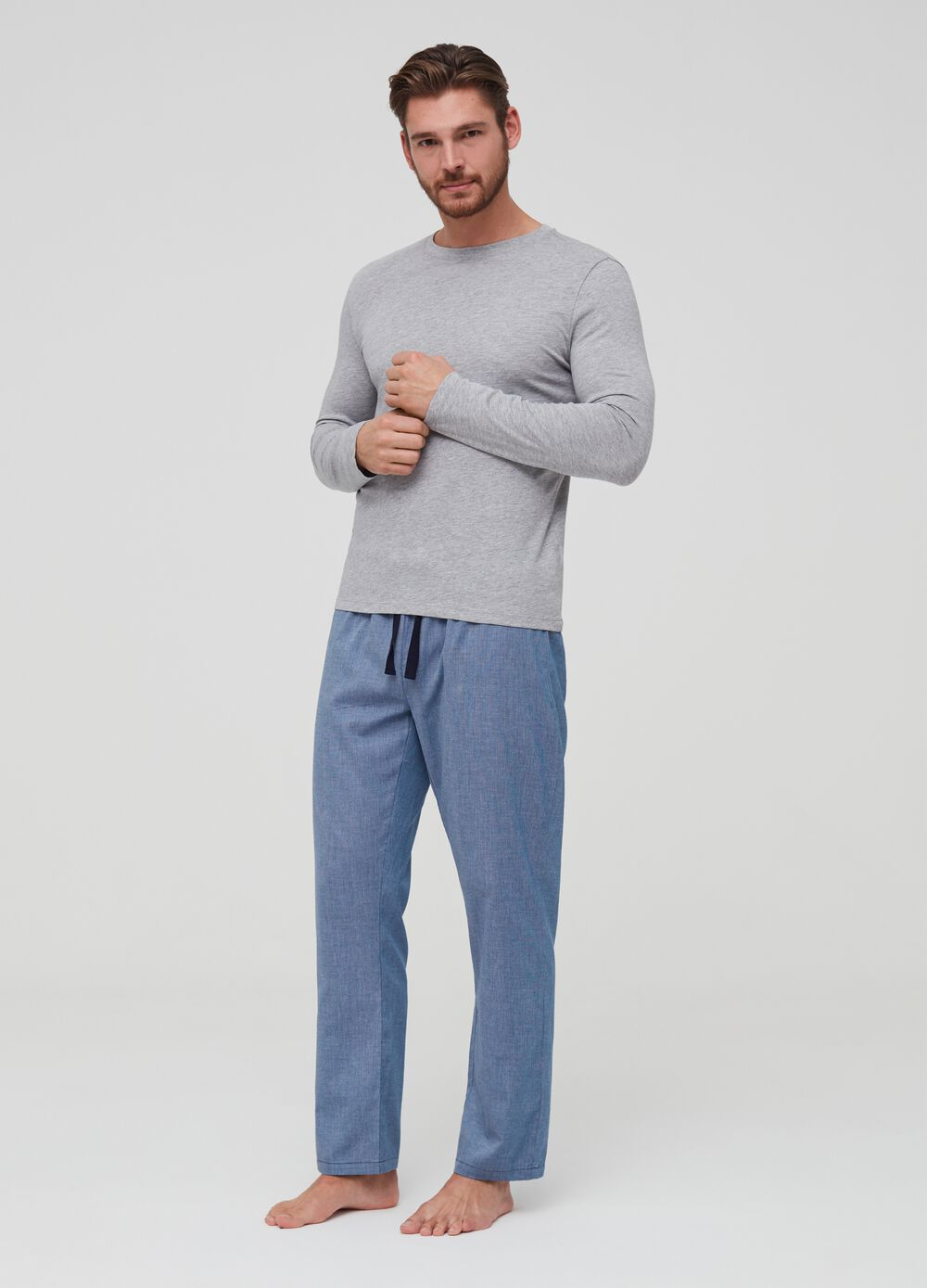 Long pyjama trousers with drawstring